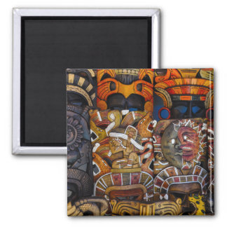 Mayan Wooden Masks in Mexico Magnet