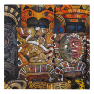 Mayan Wooden Masks in Mexico Panel Wall Art