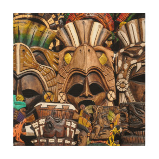 Mayan Wooden Masks in Mexico Wood Print