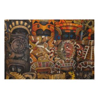 Mayan Wooden Masks in Mexico Wood Wall Art