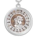 Mayan Zodiac Round Pendant Necklace