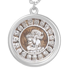 Mayan Zodiac Silver Plated Necklace at Zazzle