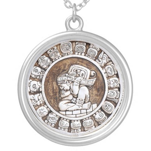 Mayan Zodiac Silver Plated Necklace