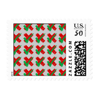 Maybe Tick and Cross Pattern Postage