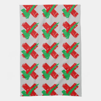 Maybe Tick and Cross Pattern Towel