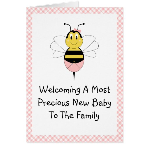 MayBee Bumble Bee Birth Announcement Greeting Card