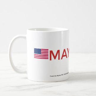 MAYDAY Logo & American Flag Cup Classic White Coffee Mug