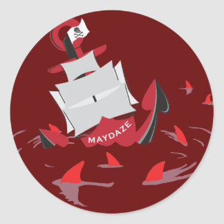 maydaze shark circle classic round sticker