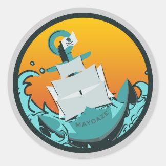 maydaze sinking ship classic round sticker
