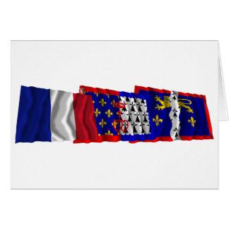 Mayenne, Pays-de-la-Loire & France flags Card