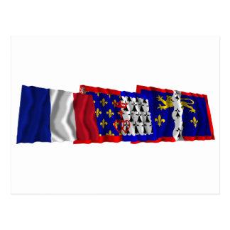 Mayenne, Pays-de-la-Loire & France flags Postcard