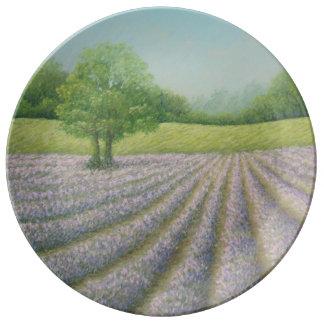 Mayfield Lavender in Bloom, Pastel Porcelain Plate