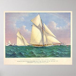 Mayflower Beats Galatea 1886 Posters