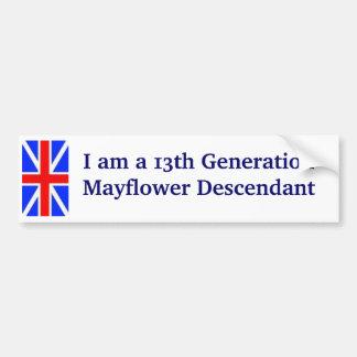 Mayflower Descendant -13th Bumper Sticker