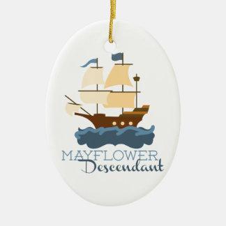 Mayflower Descendant Double-Sided Oval Ceramic Christmas Ornament