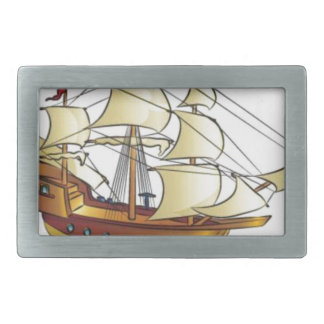 Mayflower Descendant Sailing Ship Anniversary Rectangular Belt Buckle