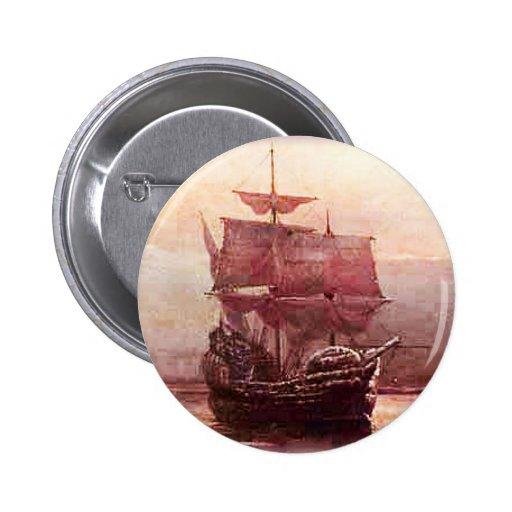 Mayflower en el puerto del Hudson Pin Redondo De 2 Pulgadas