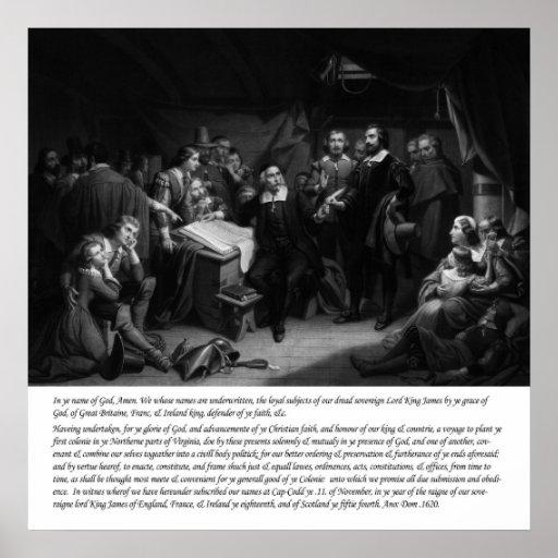 Mayflower - firma del acuerdo posters