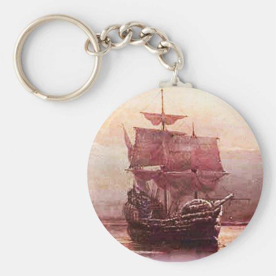 Mayflower in the Hudson Harbor Keychain