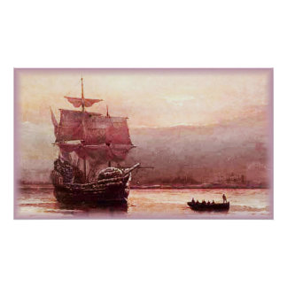 Mayflower in the Hudson Harbor Poster