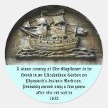 Mayflower - pegatinas de talla de piedra de la pegatina redonda
