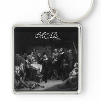 Mayflower Pilgrim Fathers - Signing of the Compact Keychain