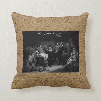 Mayflower Pilgrim Fathers - Signing of the Compact Pillow