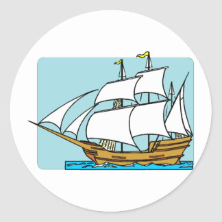 Mayflower Sails To Plymouth Classic Round Sticker