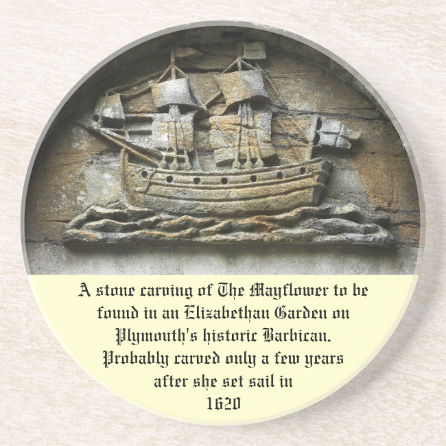 Mayflower - Stone Carving thanksgiving coasters