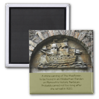 Mayflower - Stone Carving thanksgiving magnet