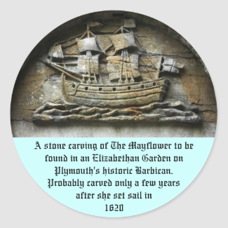 Mayflower - Stone Carving thanksgiving stickers