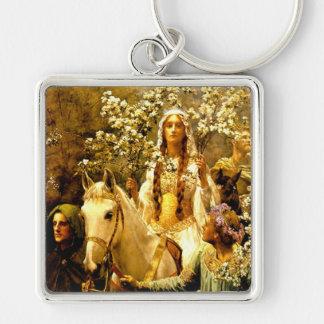 Maying de la reina Guinevere Llavero Cuadrado Plateado