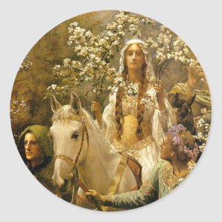 Maying of Queen Guinevere Classic Round Sticker
