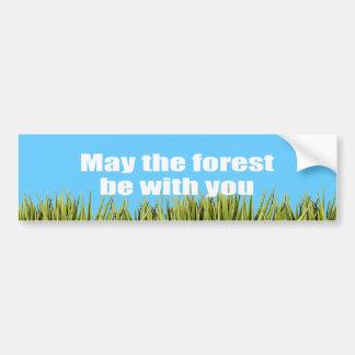 Mayo el bosque esté con usted - etiqueta de parachoque