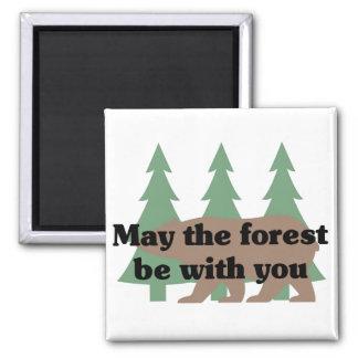 Mayo el bosque esté con usted iman de frigorífico