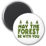 Mayo el bosque esté con usted imanes de nevera