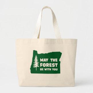 Mayo el bosque sea con usted Oregon Bolsa Tela Grande