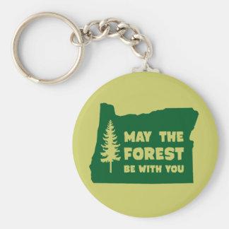 Mayo el bosque sea con usted Oregon Llavero Redondo Tipo Pin