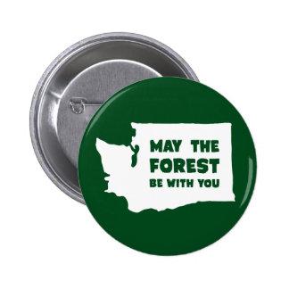 Mayo el bosque sea con usted Washington Pin Redondo De 2 Pulgadas