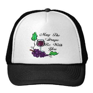 Mayo la uva sea con usted texto del negro gorros bordados