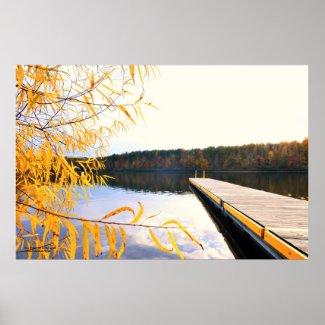 Mayo Lake Boat Dock Poster
