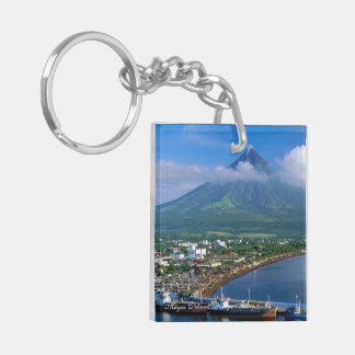 Mayon Volcano, Square (double-sided) Key Chain