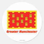 Mayor bandera de Manchester con nombre Pegatina Redonda