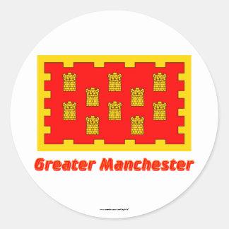Mayor bandera de Manchester con nombre Etiqueta Redonda