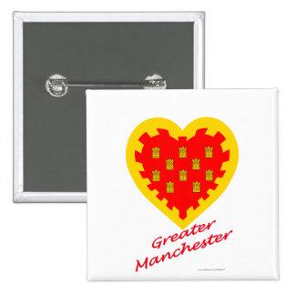 Mayor corazón de la bandera de Manchester con nomb Pin Cuadrado