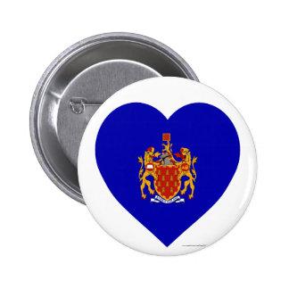 Mayor corazón de la bandera de Manchester Pin Redondo De 2 Pulgadas