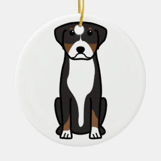 Mayor dibujo animado suizo del perro de la montaña adorno redondo de cerámica