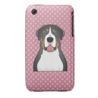 Mayor dibujo animado suizo del perro de la montaña iPhone 3 Case-Mate funda