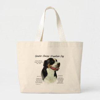 Mayor diseño suizo de la historia del perro de la  bolsa tela grande