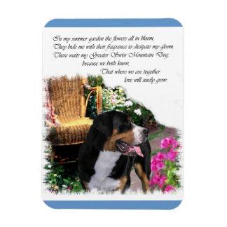 Mayor jardín suizo del verano del perro de la mont iman rectangular